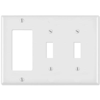 Leviton Combination Wallplate (1 Decora & 2 Toggle), White