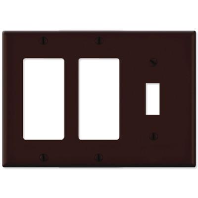 Leviton Combination Wallplate (2 Decora & 1 Toggle), Brown