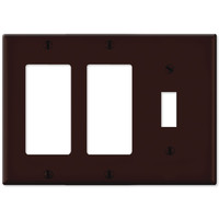 Leviton Combination Wallplate (2 Decora & 1 Toggle), Brown