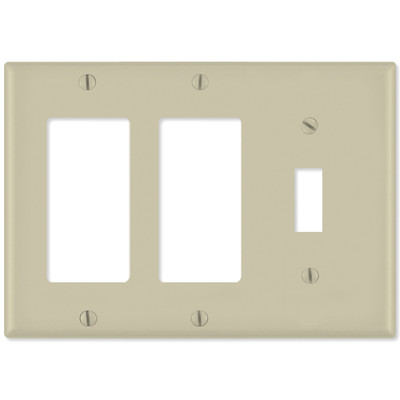 Leviton Combination Wallplate (2 Decora & 1 Toggle), Ivory