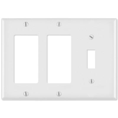 Leviton Combination Wallplate (2 Decora & 1 Toggle), White