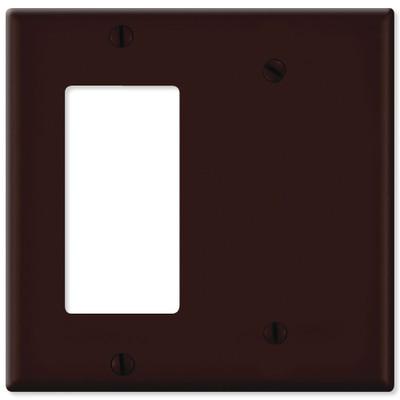 Leviton Combination Wallplate (1 Decora & 1 Blank), Brown