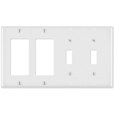 Leviton Combination Wallplate (2 Decora & 2 Toggle), White