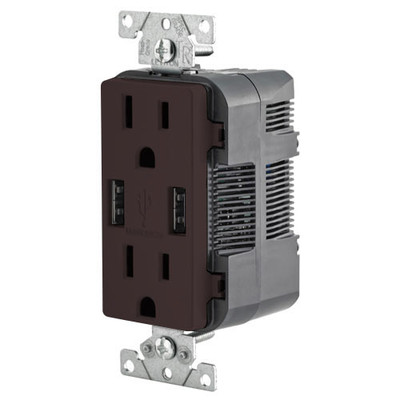 Leviton 2-Port USB Charger & Tamper-Resistant Duplex Receptacle, 15A, Brown
