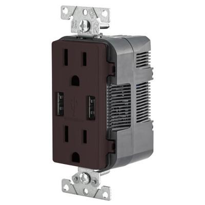 Leviton 2-Port USB Charger & Tamper-Resistant Duplex Receptacle, 15A, Brown