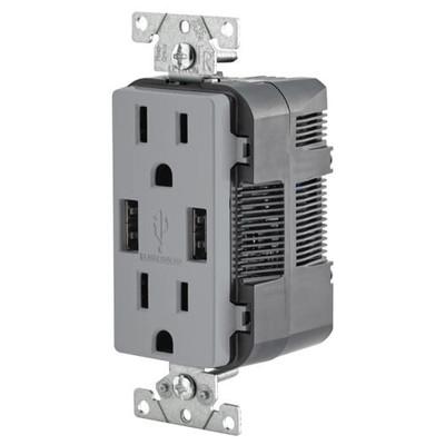 Leviton 2-Port USB Charger & Tamper-Resistant Duplex Receptacle, 15A, Gray