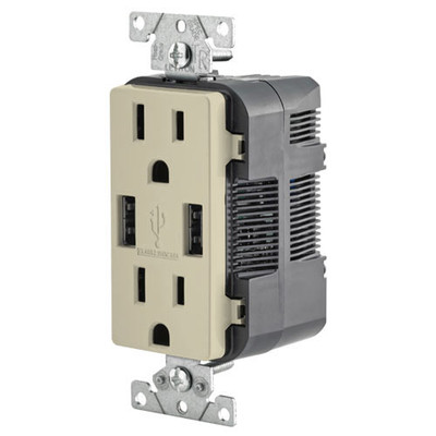 Leviton 2-Port USB Charger & Tamper-Resistant Duplex Receptacle, 15A, Ivory