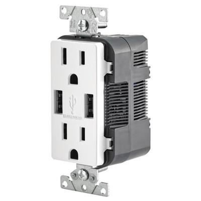 Leviton 2-Port USB Charger & Tamper-Resistant Duplex Receptacle, 15A, White