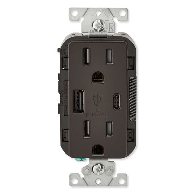 Leviton Decora USB Type-A/Type-C Wall Outlet Charger, 15A, Brown