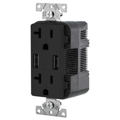 Leviton 2-Port USB Charger & Tamper-Resistant Duplex Receptacle, 20A, Black