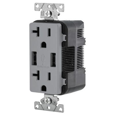 Leviton 2-Port USB Charger & Tamper-Resistant Duplex Receptacle, 20A, Gray