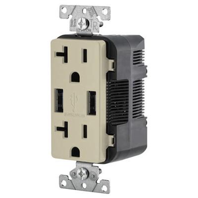 Leviton 2-Port USB Charger & Tamper-Resistant Duplex Receptacle, 20A, Ivory