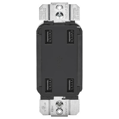 Leviton 4-Port USB Charger, Black