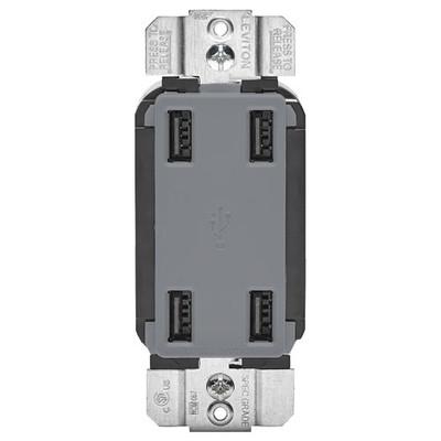 Leviton 4-Port USB Charger, Gray