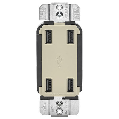 Leviton 4-Port USB Charger, Light Almond