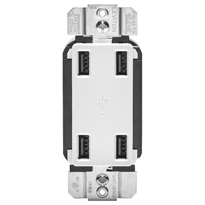 Leviton 4-Port USB Charger, White
