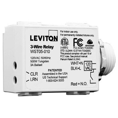 Leviton LevNet EnOcean 3-Wire Relay Receiver, Threaded Mount, 500W