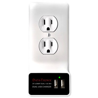 Data-Tronix DT-USBWP-DUAL-15A-WH USB Charging Wall Plate for AC Outlets, 15A
