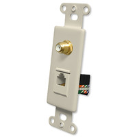 OEM Systems Pro-Wire Combo Jack Plate (1 F, 1 RJ45), Almond