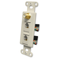 OEM Systems Pro-Wire Combo Jack Plate (1 F, 2 RJ45), Almond