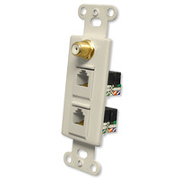 OEM Systems Pro-Wire Combo Jack Plate (1 F, 2 RJ11), Almond