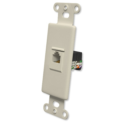 OEM Systems Pro-Wire Jack Plate (1 RJ11), Almond