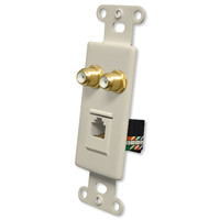 OEM Systems Pro-Wire Combo Jack Plate (2 F, 1 RJ45), Almond
