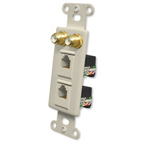 OEM Systems Pro-Wire Combo Jack Plate (2 F, 2 RJ11), Almond