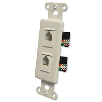 OEM Systems Pro-Wire Jack Plate (2 RJ45), Almond