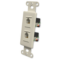 OEM Systems Pro-Wire Jack Plate (2 RJ11), Almond