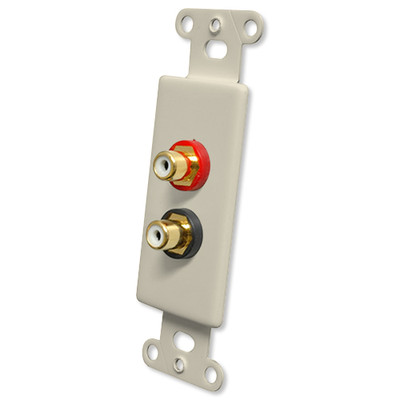 OEM Systems Pro-Wire Jack Plate (Solderless 2 RCA), Almond