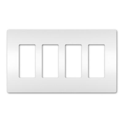 On-Q/Legrand Radiant Screwless Wallplate, 4-Gang, White
