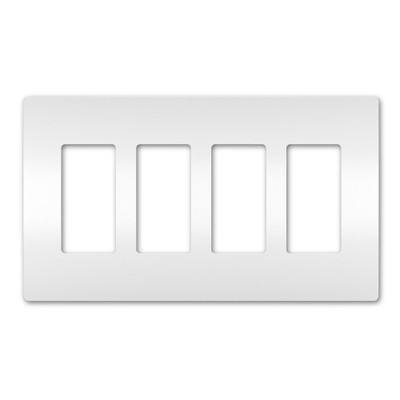 On-Q/Legrand Radiant Screwless Wallplate, 4-Gang, White
