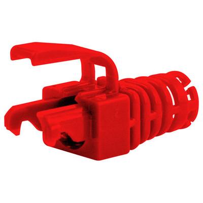 Platinum Tools EZ-DataLock Strain Relief: RJ45 Cat5e/6 & EZ-RJ45 Cat6 (100 Pack), Red