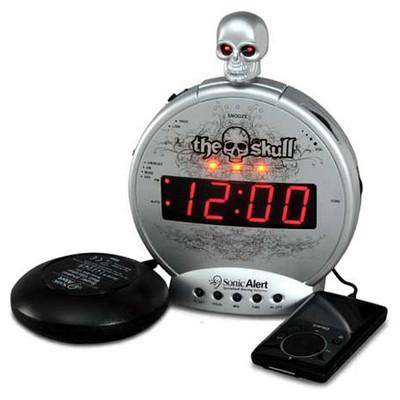 Sonic Alert Boom The Skull Alarm Clock with Bone Crusher Bed Shaker
