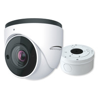 Speco 4MP H.265 IP Turret Camera With Analytics and Junction Box, 2.8-12mm Motorized Lens