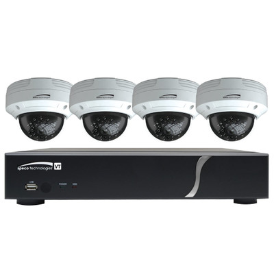 Speco HD-TVI Kit: 4-Channel Digital Video Recorder (DVR) with 4 Dome Cameras