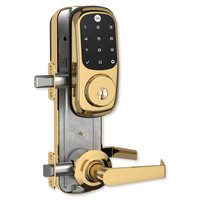 Yale Z-Wave Assure Interconnected Lockset with Touchscreen Deadbolt, Augusta Lever, Left Handed, Bright Brass
