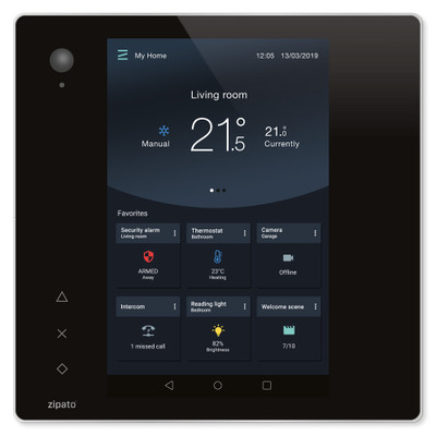 Zipato ZipaTile2 Z-Wave + Zigbee Home Automation Controller, Black Touch Panel with Silver Frame
